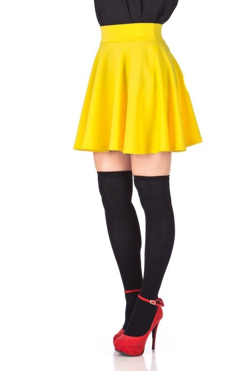 Fancy Retro High Waist A line Flowing Full Flared Swing Circle Skater Short Mini Skirt Yellow 06 1