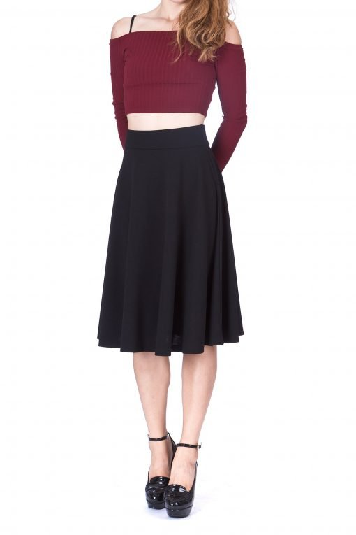 Feel The Retro Mood Wide High Waist A line Full Flared Swing Skater Midi Skirt Black 2 1