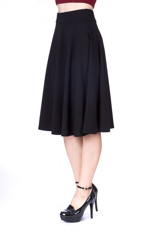 Feel The Retro Mood Wide High Waist A line Full Flared Swing Skater Midi Skirt Black 5 1