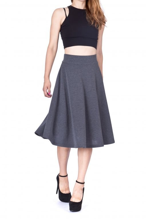 Feel The Retro Mood Wide High Waist A line Full Flared Swing Skater Midi Skirt Charcoal 1 1