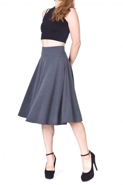 Feel The Retro Mood Wide High Waist A line Full Flared Swing Skater Midi Skirt Charcoal 2 1