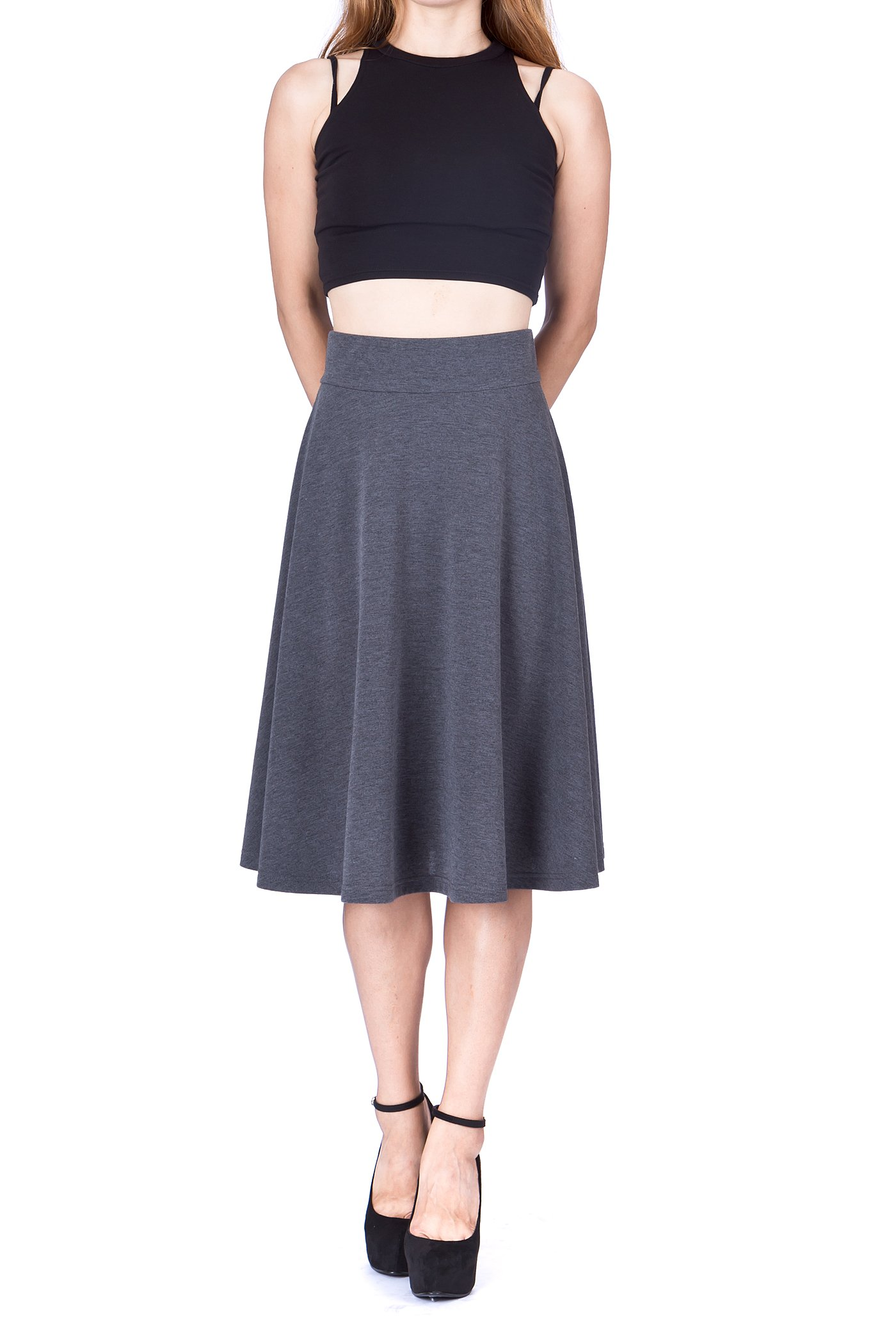 Feel The Retro Mood Wide High Waist A line Full Flared Swing Skater Midi Skirt Charcoal 4