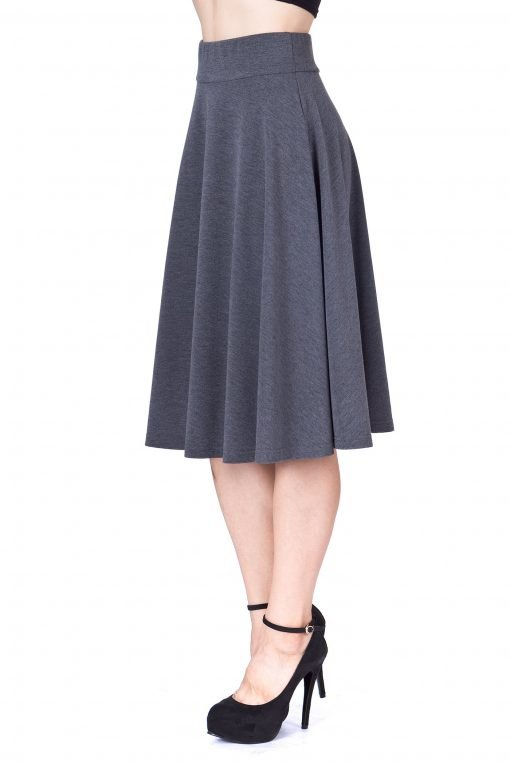 Feel The Retro Mood Wide High Waist A line Full Flared Swing Skater Midi Skirt Charcoal 5 1
