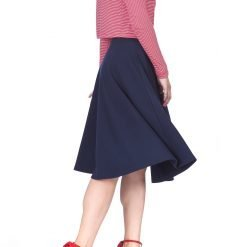 Feel The Retro Mood Wide High Waist A line Full Flared Swing Skater Midi Skirt Navy 1 1