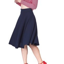 Feel The Retro Mood Wide High Waist A line Full Flared Swing Skater Midi Skirt Navy 4 1