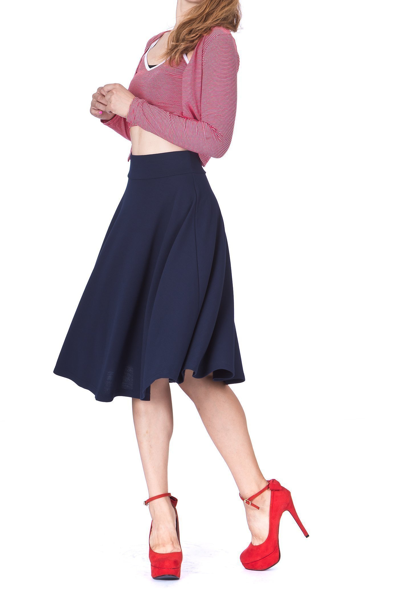 Feel The Retro Mood Wide High Waist A line Full Flared Swing Skater Midi Skirt Navy 4