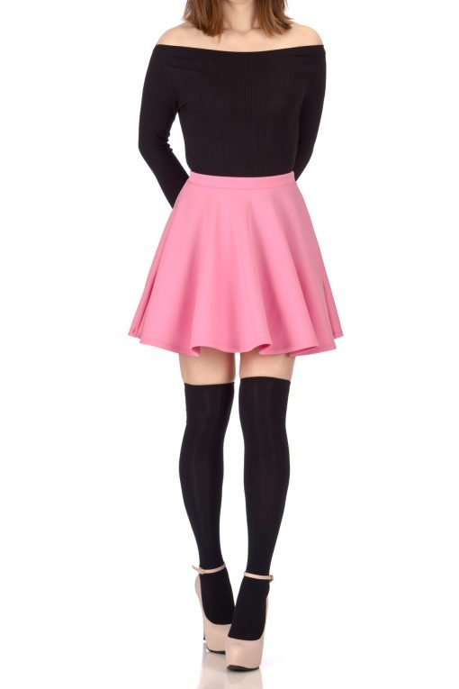 Flouncy High Waist A line Full Flared Circle Swing Dance Party Casual Skater Short Mini Skirt Bubble Gum Pink 1