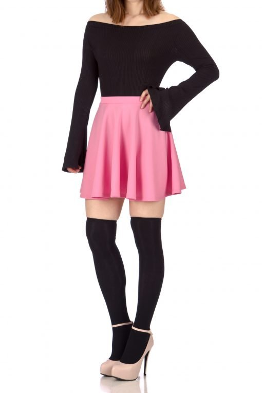 Flouncy High Waist A line Full Flared Circle Swing Dance Party Casual Skater Short Mini Skirt Bubble Gum Pink 3