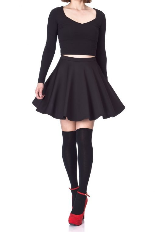 Flouncy High Waist A line Full Flared Circle Swing Dance Party Casual Skater Short Mini Skirt Black 01 2