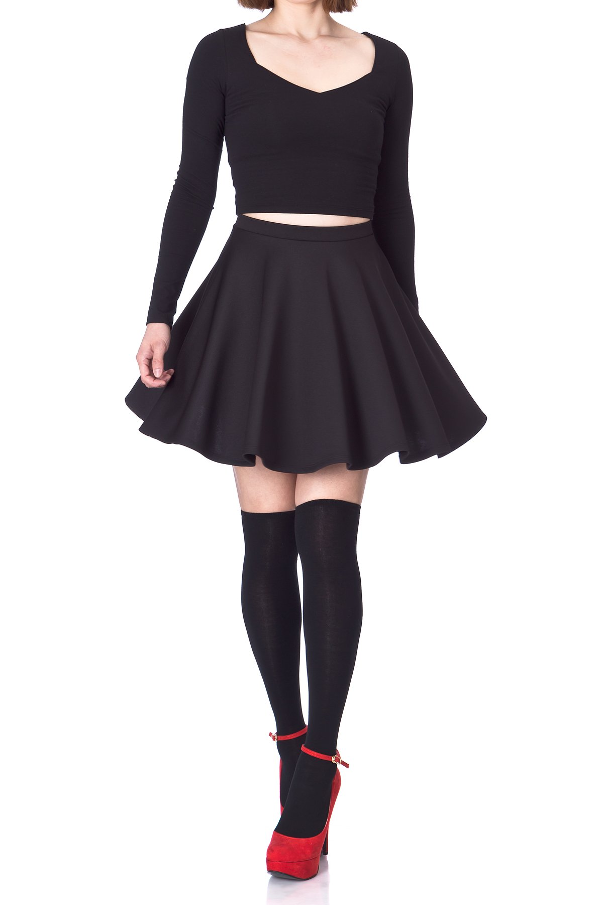 Flouncy High Waist A line Full Flared Circle Swing Dance Party Casual Skater Short Mini Skirt Black 01