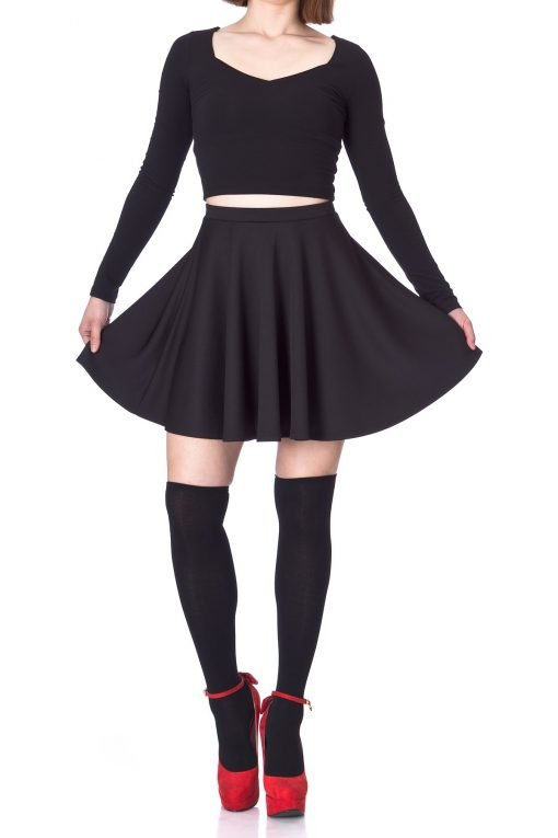 Flouncy High Waist A line Full Flared Circle Swing Dance Party Casual Skater Short Mini Skirt Black 02 2