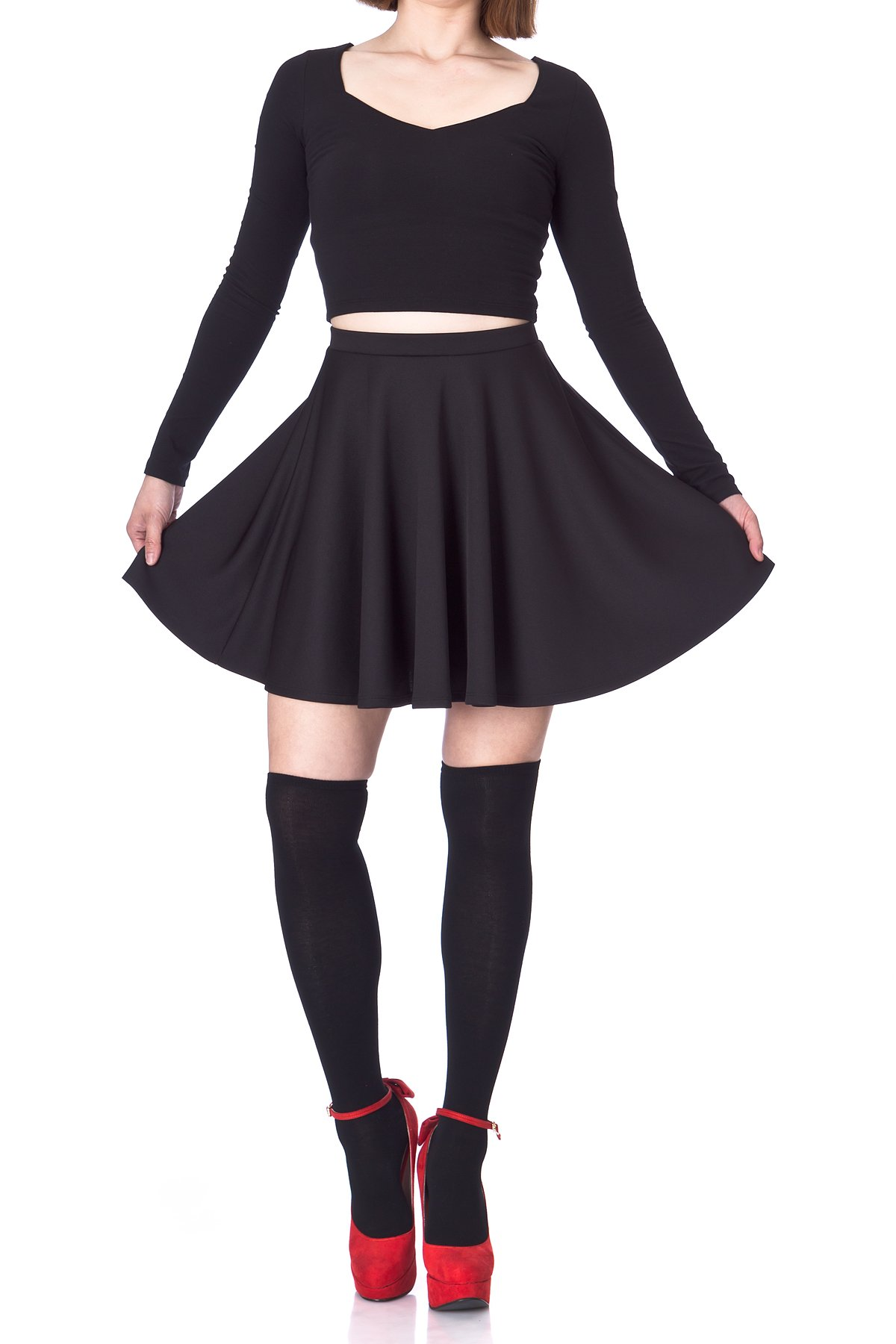 Flouncy High Waist A line Full Flared Circle Swing Dance Party Casual Skater Short Mini Skirt Black 02
