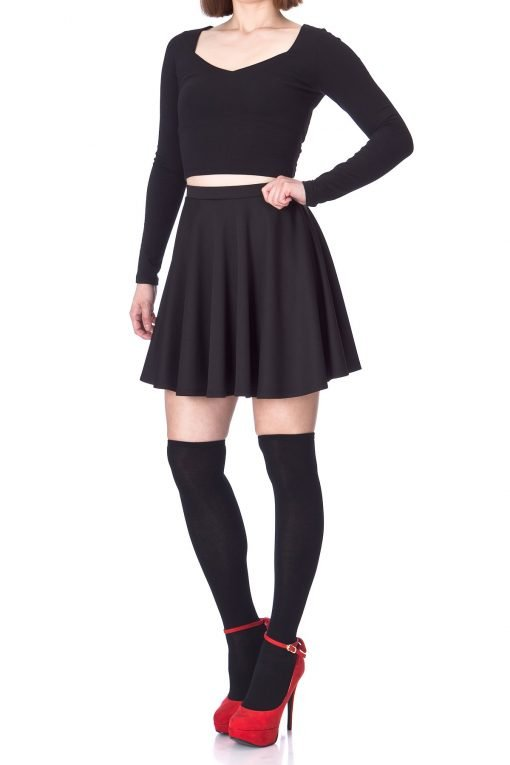 Flouncy High Waist A line Full Flared Circle Swing Dance Party Casual Skater Short Mini Skirt Black 03 2