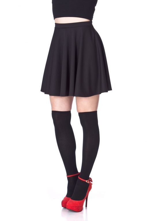 Flouncy High Waist A line Full Flared Circle Swing Dance Party Casual Skater Short Mini Skirt Black 06 2