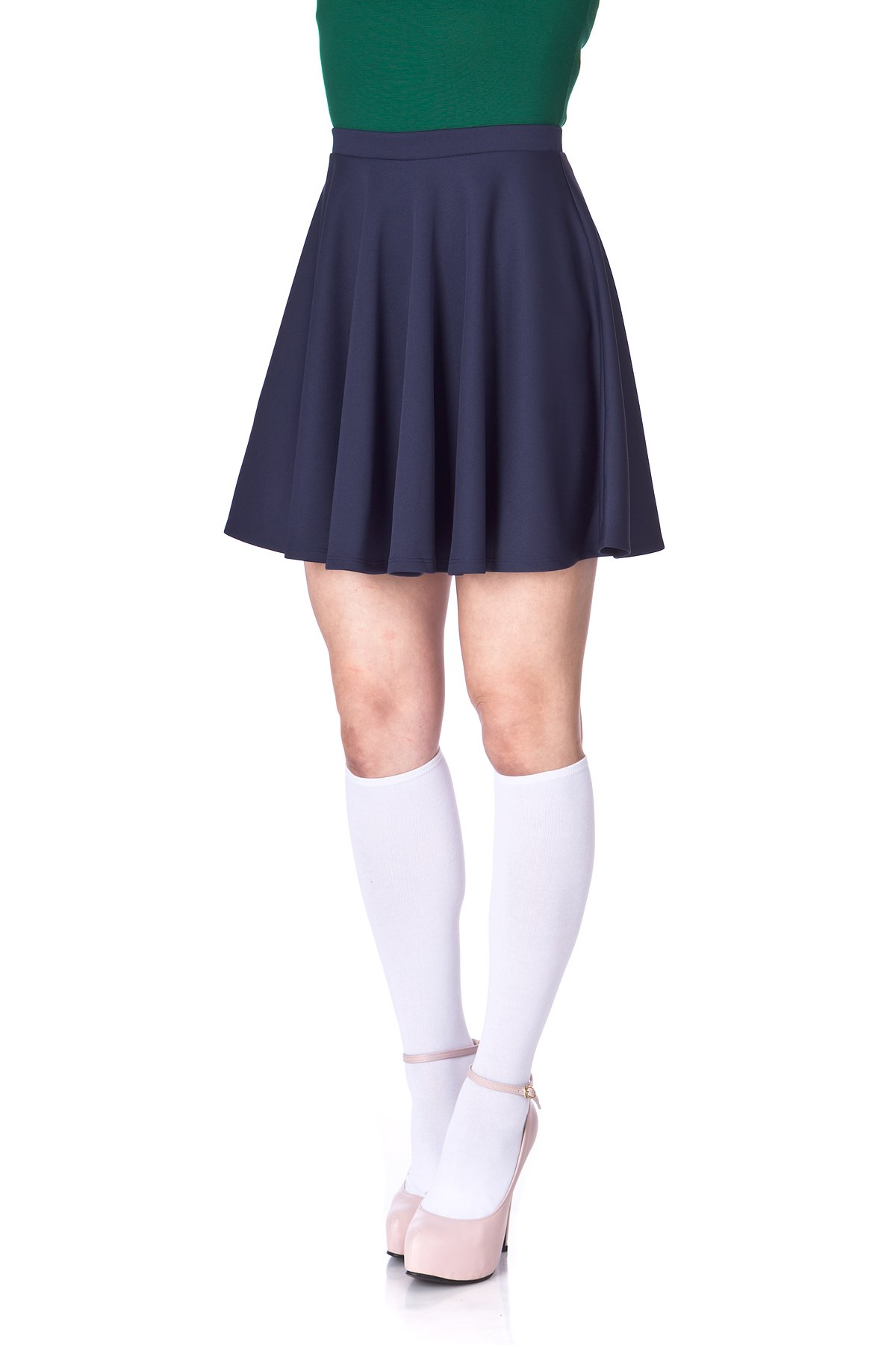 Flouncy High Waist A line Full Flared Circle Swing Dance Party Casual Skater Short Mini Skirt Navy 06 2