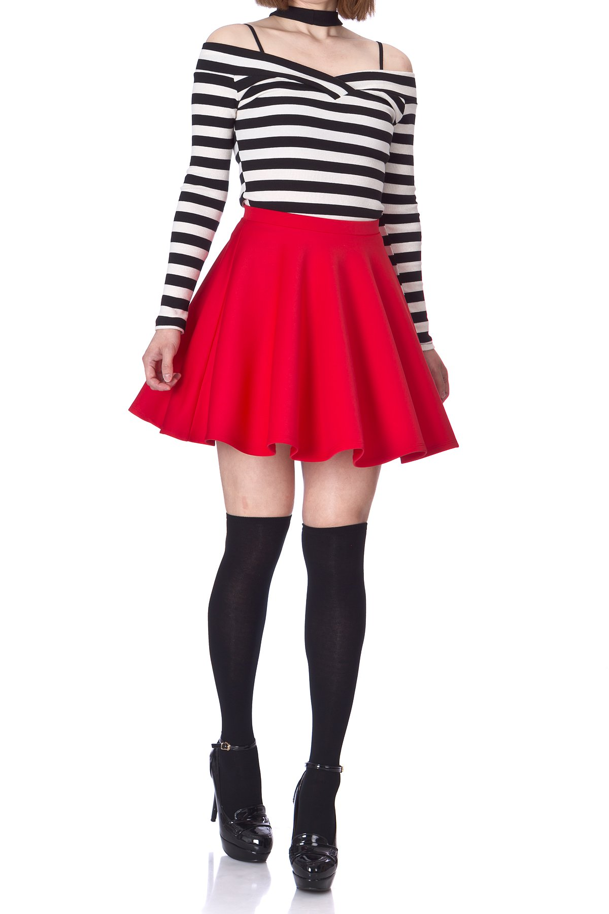 Flouncy High Waist A line Full Flared Circle Swing Dance Party Casual Skater Short Mini Skirt Red 01