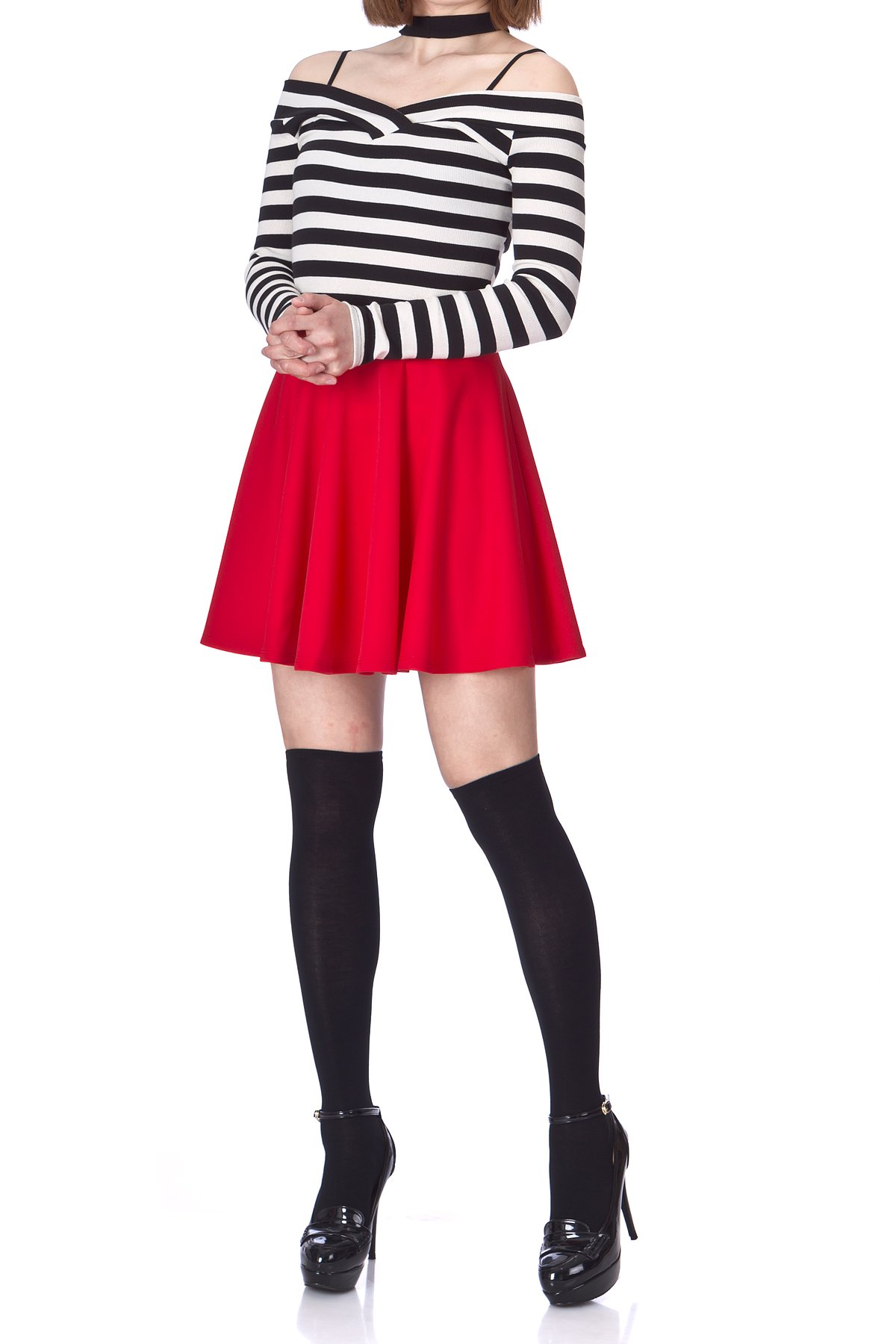 Flouncy High Waist A line Full Flared Circle Swing Dance Party Casual Skater Short Mini Skirt Red 02 1