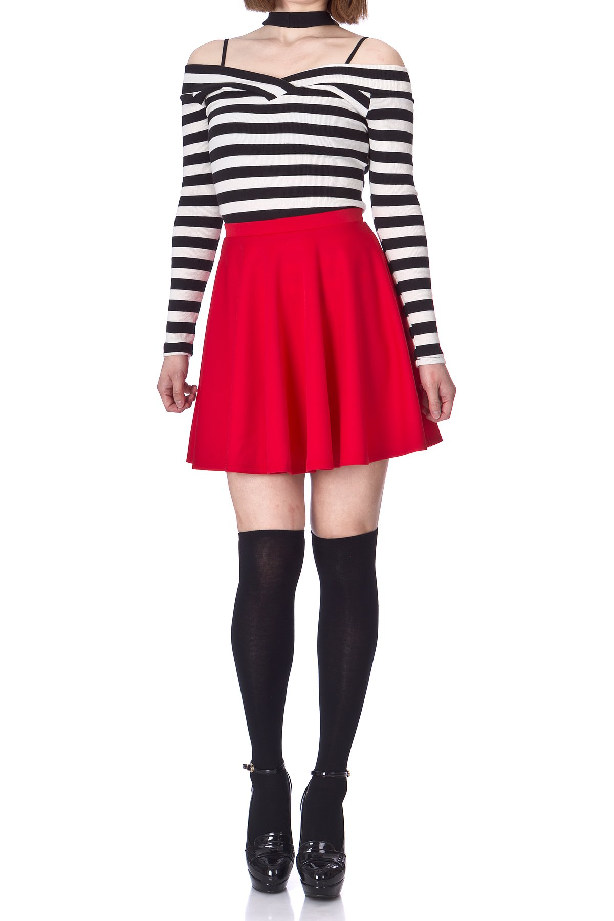Flouncy High Waist A line Full Flared Circle Swing Dance Party Casual Skater Short Mini Skirt Red 03