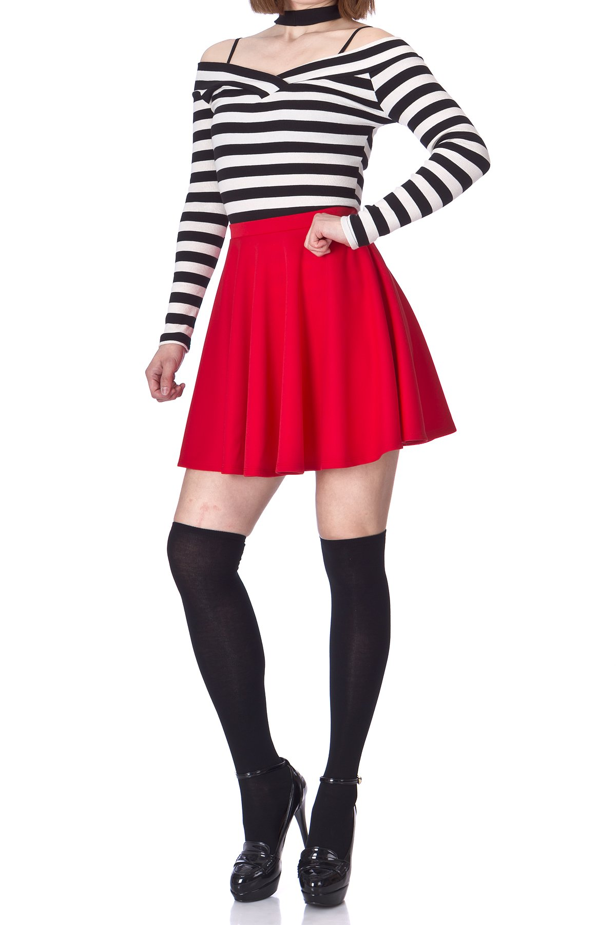 Flouncy High Waist A line Full Flared Circle Swing Dance Party Casual Skater Short Mini Skirt Red 04