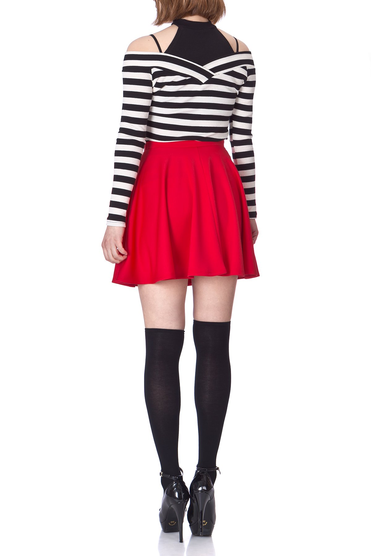 Flouncy High Waist A line Full Flared Circle Swing Dance Party Casual Skater Short Mini Skirt Red 05
