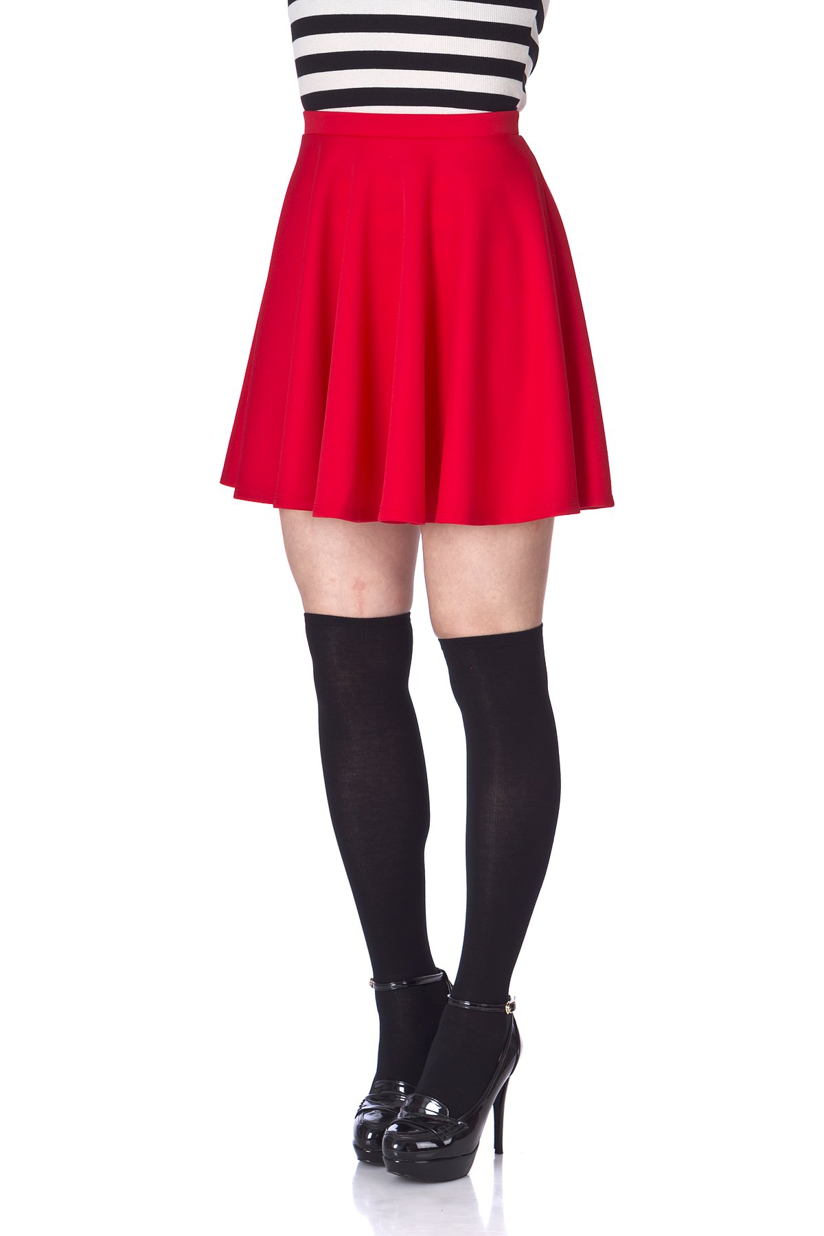 Flouncy High Waist A line Full Flared Circle Swing Dance Party Casual Skater Short Mini Skirt Red 06