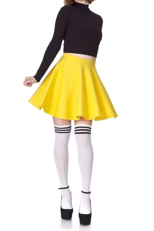 Flouncy High Waist A line Full Flared Circle Swing Dance Party Casual Skater Short Mini Skirt Yellow 01 2