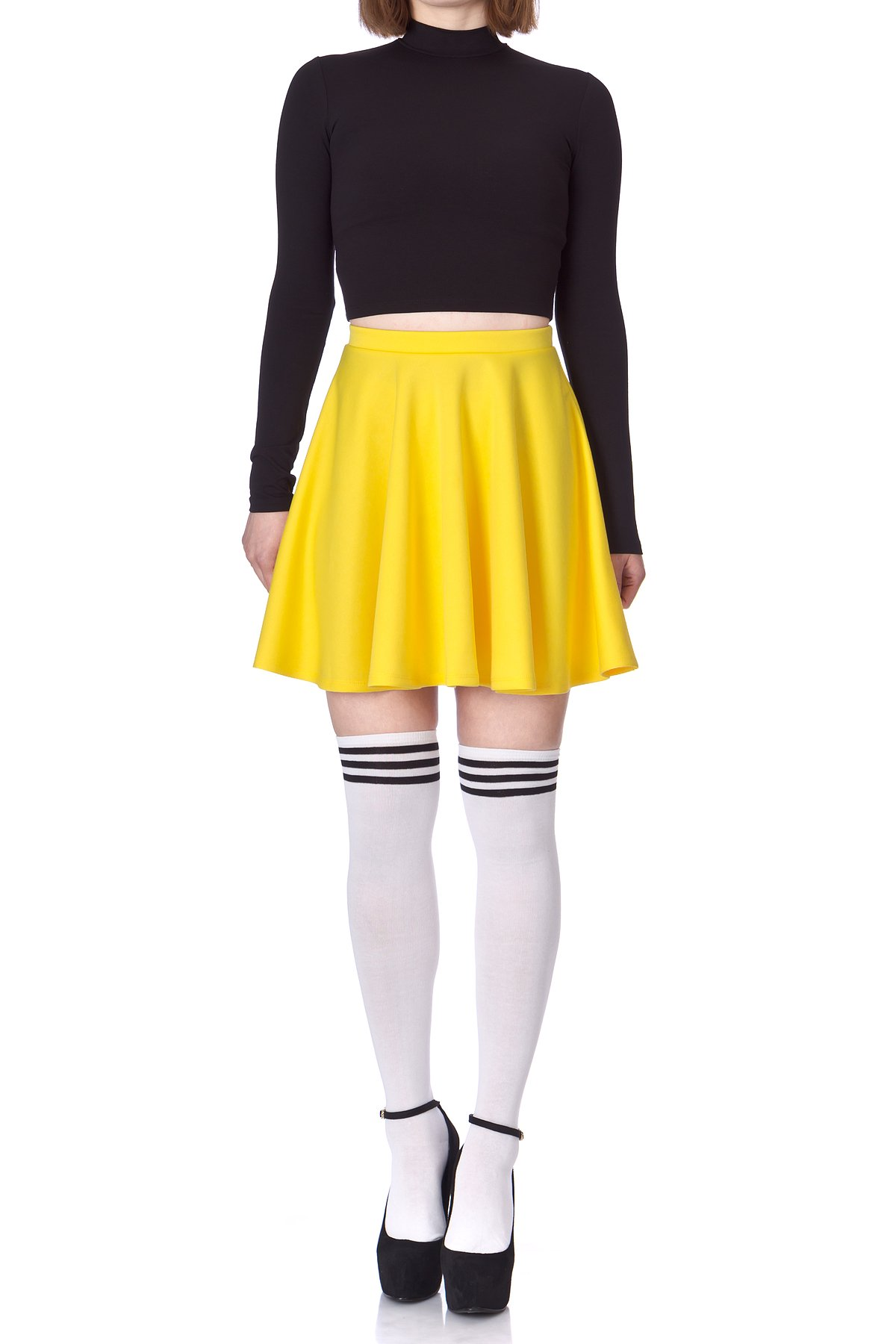 Flouncy High Waist A line Full Flared Circle Swing Dance Party Casual Skater Short Mini Skirt Yellow 02 1