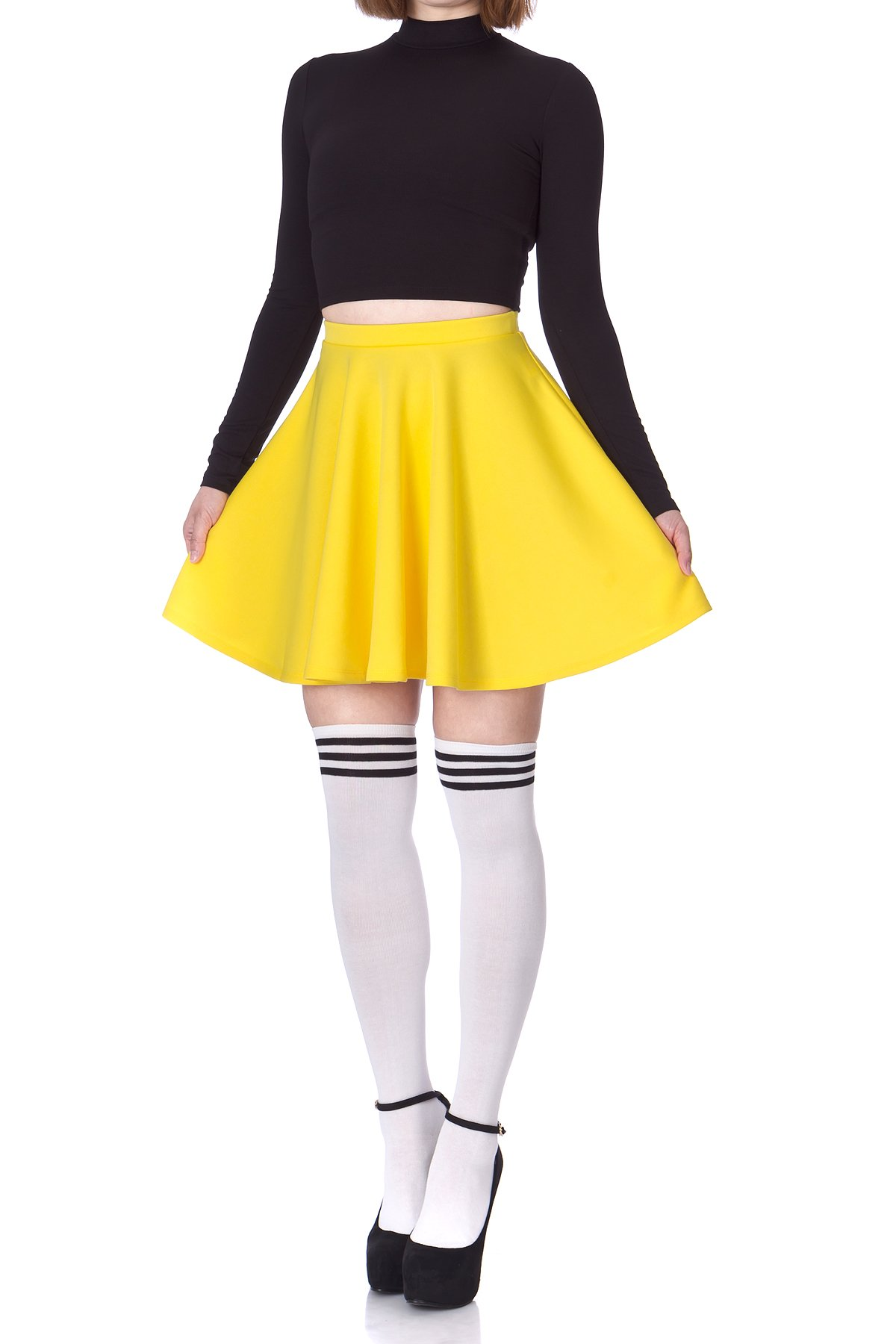 Flouncy High Waist A line Full Flared Circle Swing Dance Party Casual Skater Short Mini Skirt Yellow 03