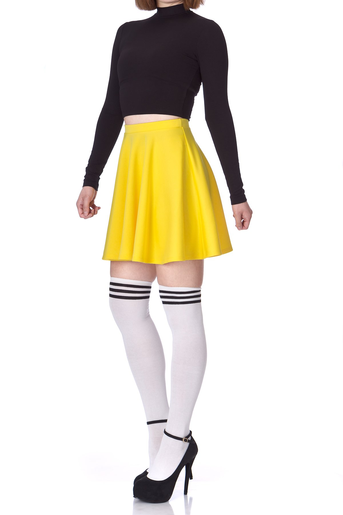Flouncy High Waist A line Full Flared Circle Swing Dance Party Casual Skater Short Mini Skirt Yellow 04 1