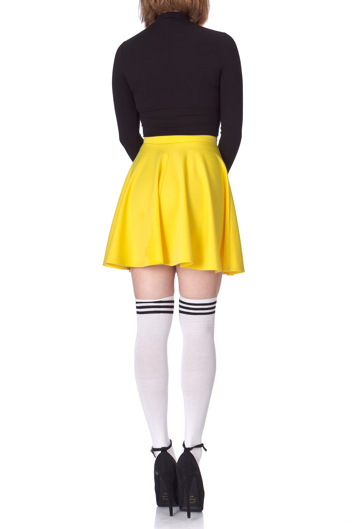 Flouncy High Waist A line Full Flared Circle Swing Dance Party Casual Skater Short Mini Skirt Yellow 05