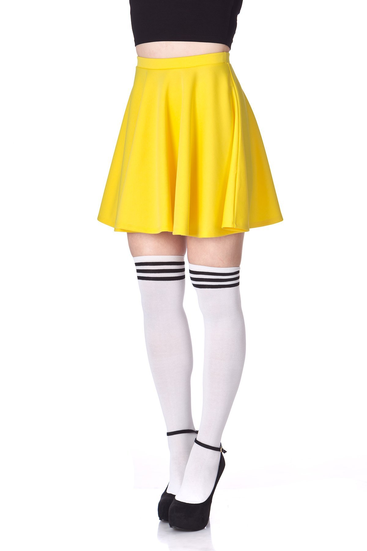Flouncy High Waist A line Full Flared Circle Swing Dance Party Casual Skater Short Mini Skirt Yellow 06
