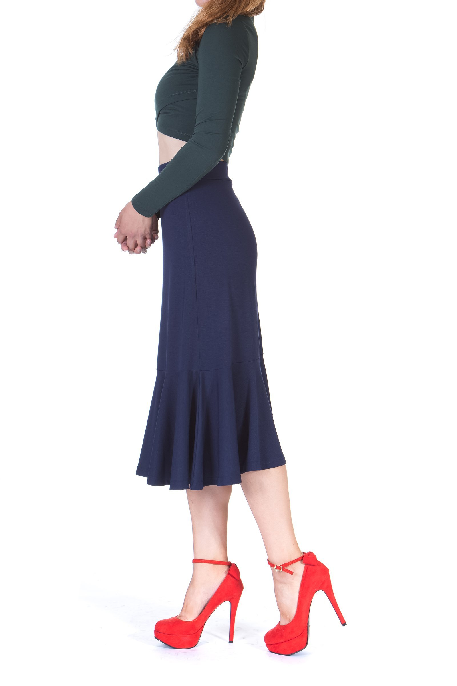 Flowy Elastic Waist Frilled Hem Fish Tail Mermaid Flared Midi Skirt Navy 4