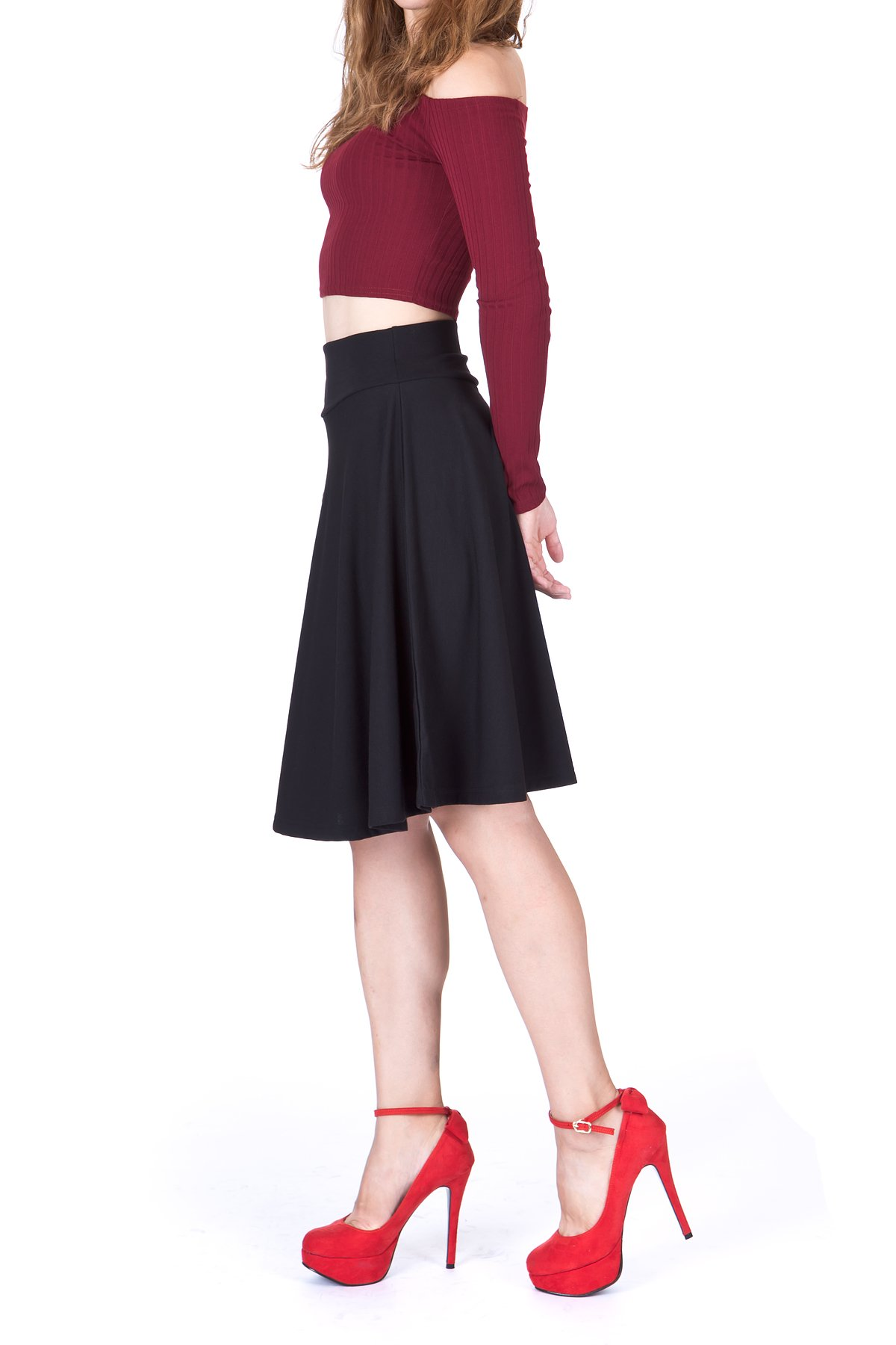 Impeccable Elastic High Waist A line Full Flared Swing Skater Knee Length Skirt Black 1