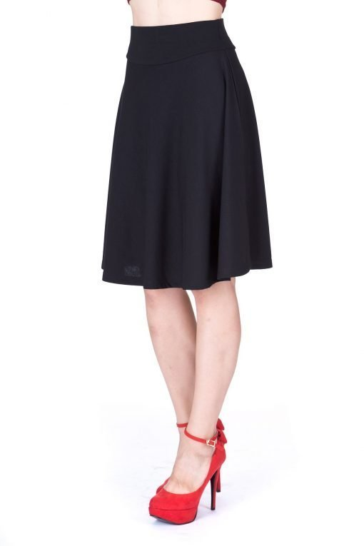 Impeccable Elastic High Waist A line Full Flared Swing Skater Knee Length Skirt Black 5 1