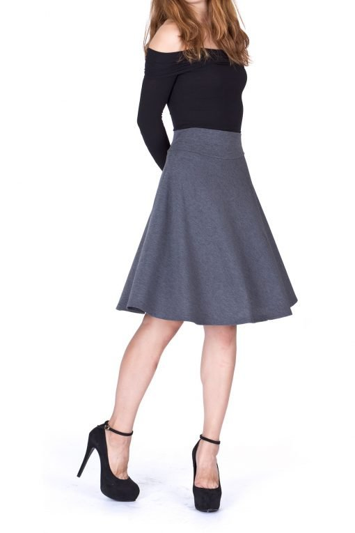 Impeccable Elastic High Waist A line Full Flared Swing Skater Knee Length Skirt Charcoal 1 1