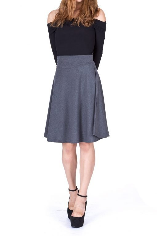 Impeccable Elastic High Waist A line Full Flared Swing Skater Knee Length Skirt Charcoal 2 1
