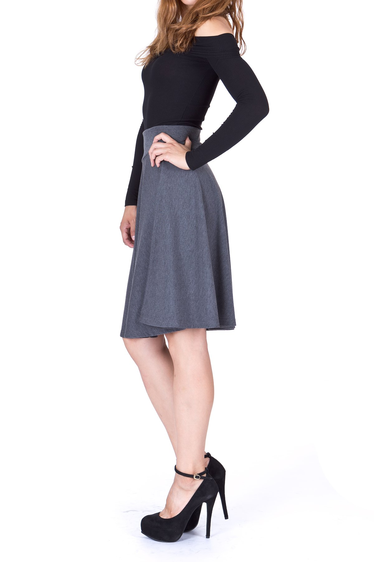 Impeccable Elastic High Waist A line Full Flared Swing Skater Knee Length Skirt Charcoal 3 1