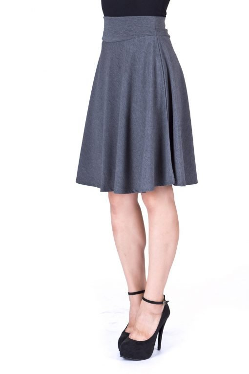 Impeccable Elastic High Waist A line Full Flared Swing Skater Knee Length Skirt Charcoal 5 1