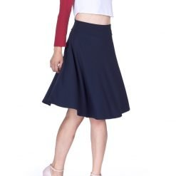 Impeccable Elastic High Waist A line Full Flared Swing Skater Knee Length Skirt Navy 1 1