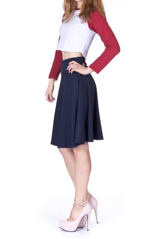 Impeccable Elastic High Waist A line Full Flared Swing Skater Knee Length Skirt Navy 4 1