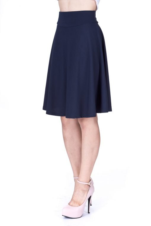 Impeccable Elastic High Waist A line Full Flared Swing Skater Knee Length Skirt Navy 5 1