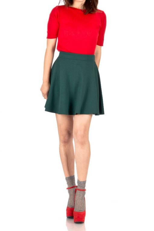 deep green skater skirt