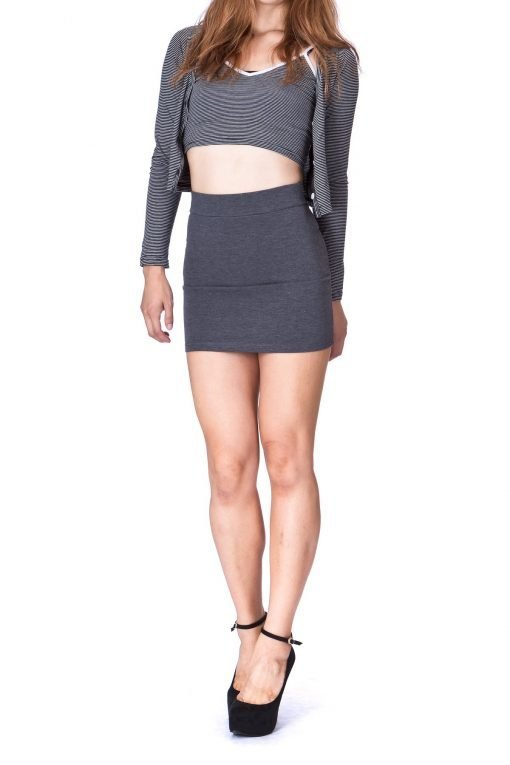 Must buy Basic Bodycon Pencil Short Mini Skirt Charcoal 1 1