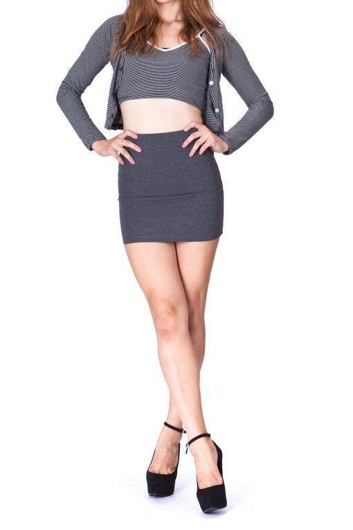 Must buy Basic Bodycon Pencil Short Mini Skirt Charcoal 2 1