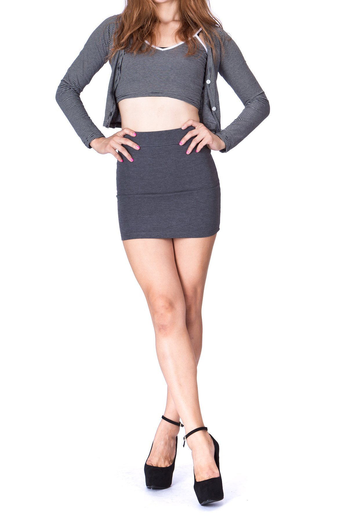 Must buy Basic Bodycon Pencil Short Mini Skirt Charcoal 2