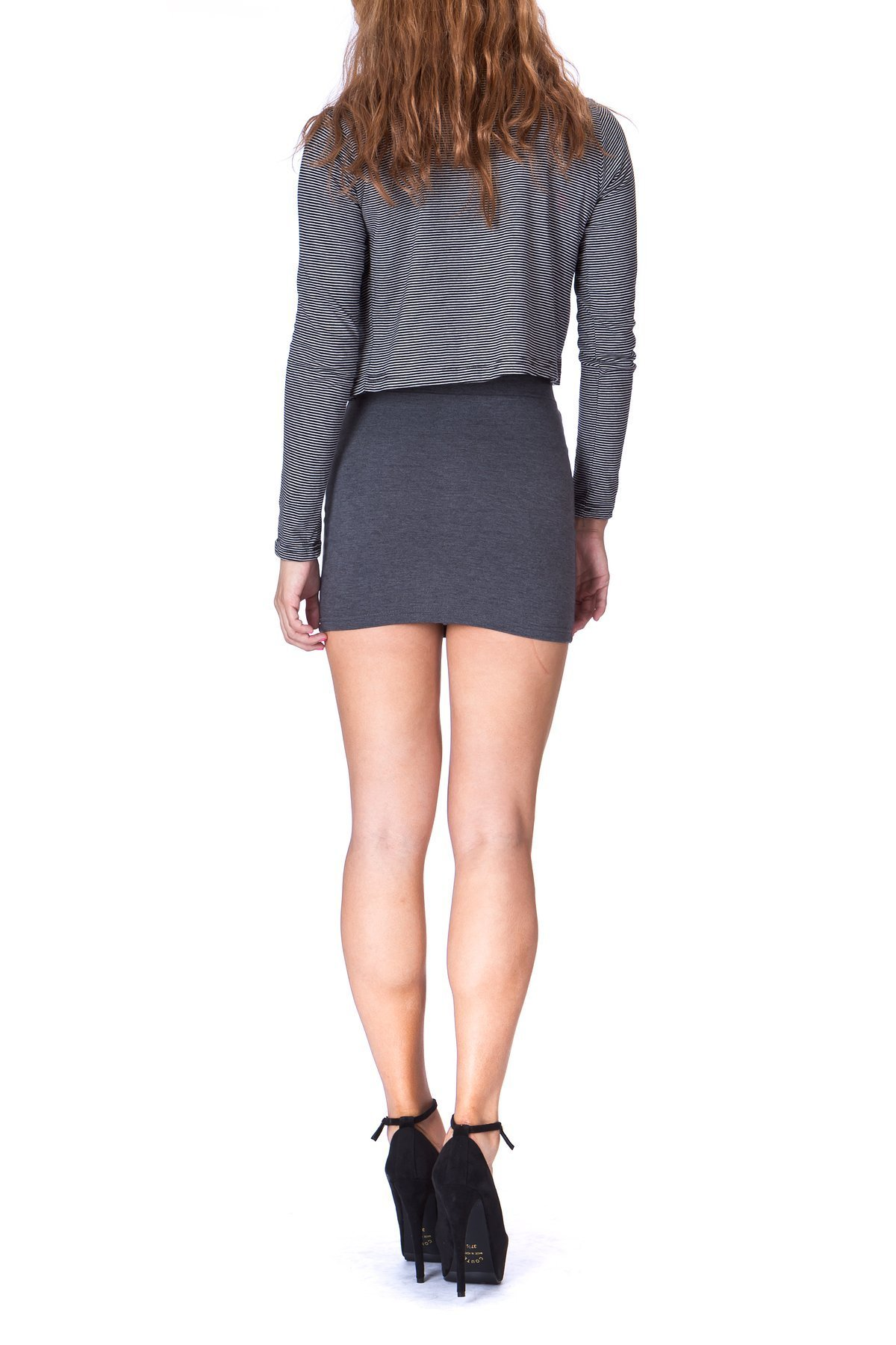 Must buy Basic Bodycon Pencil Short Mini Skirt Charcoal 4