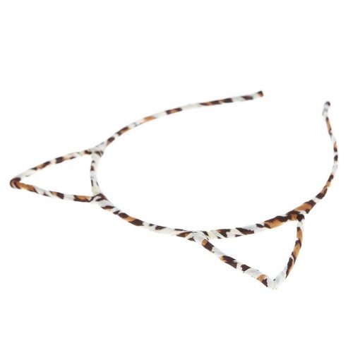 New Leopard Print Cat Ear Headband Brown 1