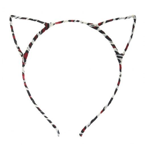 New Leopard Print Cat Ear Headband Red 2