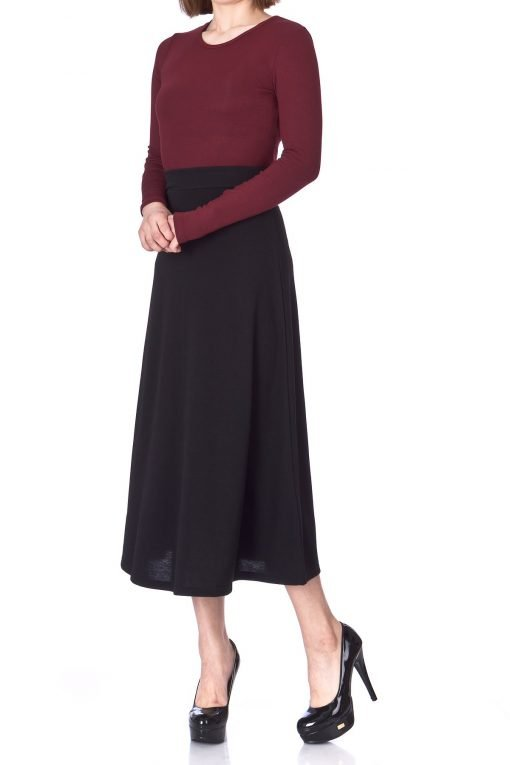 Plain Beauty Casual Office High Waist A line Full Flared Swing Skater Maxi Long Skirt Black 02 1