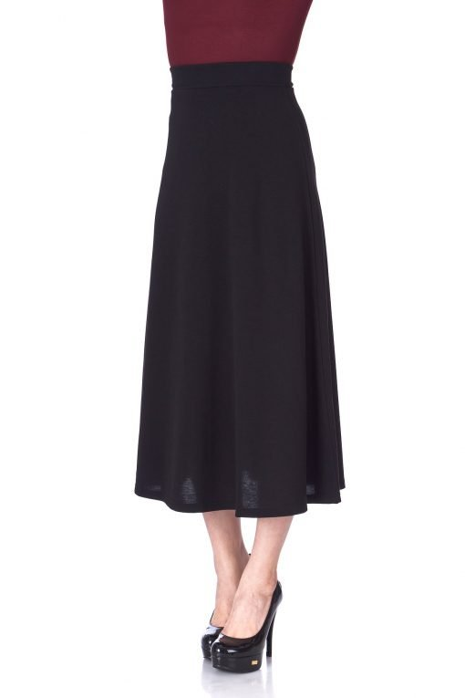 Plain Beauty Casual Office High Waist A line Full Flared Swing Skater Maxi Long Skirt Black 06 1